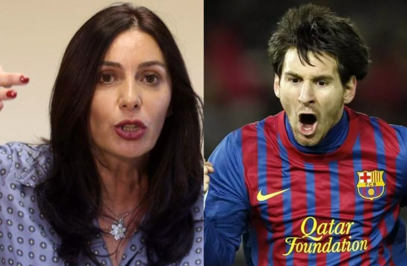 A split screen of Israeli Minister of Culture and Sport Miri Regev and Lionel Messi (photo credit: MARC SELLEM + REUTERS)