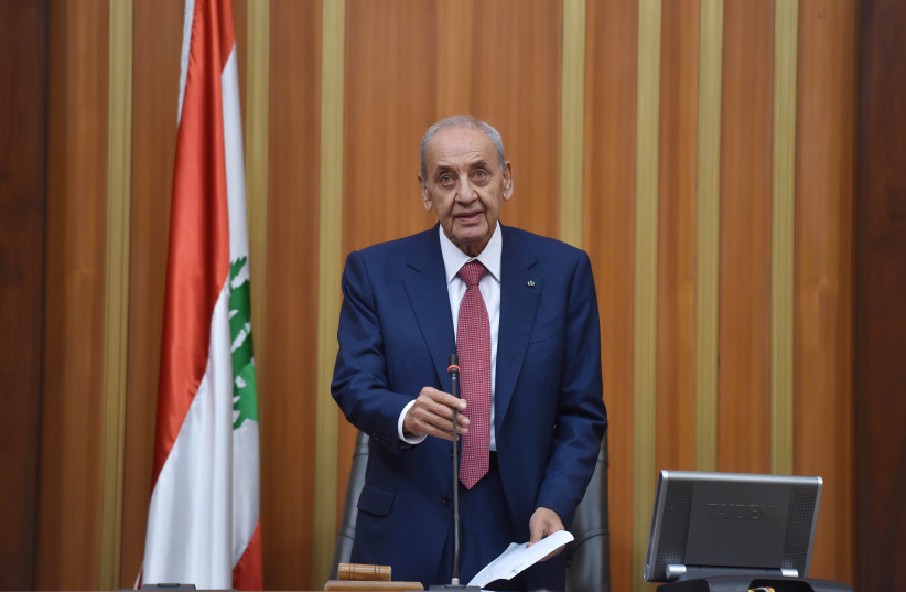 Nabih Berri, speaks after he was re-elected Lebanon's parliamentary speaker, as Lebanon's newly elected parliament convenes for the first time to elect a speaker and deputy speaker in Beirut, Lebanon May 23, 2018 (photo credit: LEBANESE PARLIAMENT/HANDOUT VIA REUTERS)