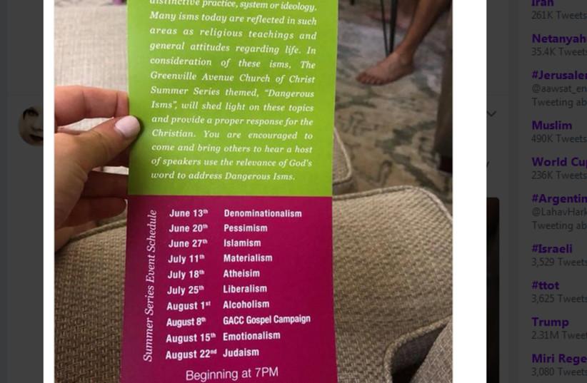 Flyer from Greenville Avenue Church of Christ, Richardson, Texas (photo credit: TWITTER SCREENSHOT)