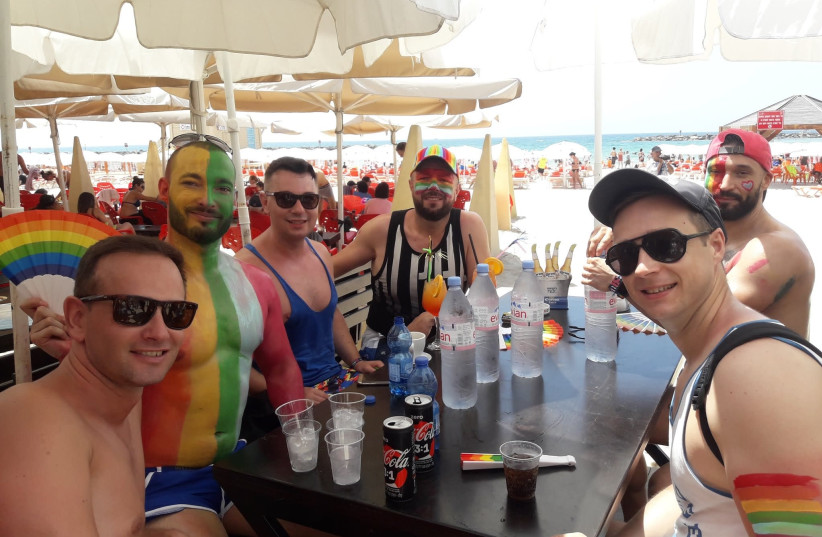 Slovak tourists in Tel Aviv for the LGBT parade in 2018  (photo credit: TAMARA ZIEVE)