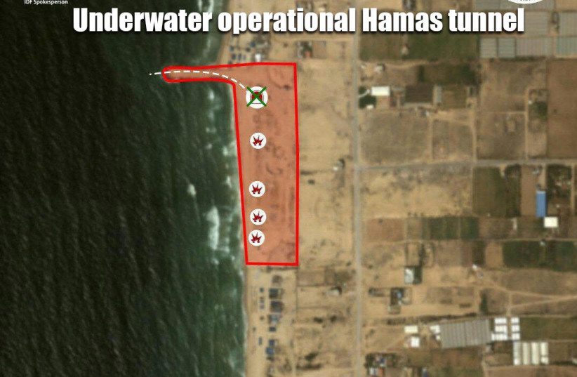 IDF graphic shows Hamas naval tunnel destroyed Sunday June 3rd. (photo credit: IDF SPOKESPERSON'S OFFICE)