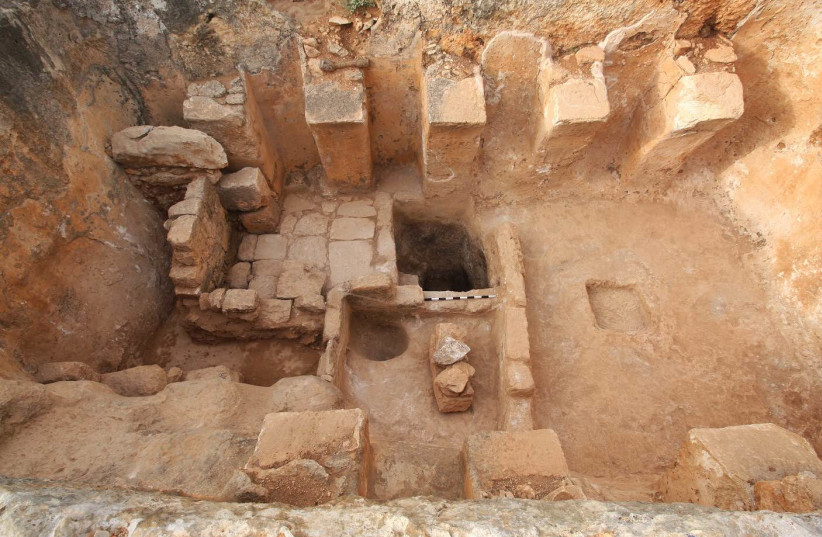 A Byzantine wine press discovered in Zippori in Northern Israel (photo credit: ISRAEL NATURE AND PARKS AUTHORITY)