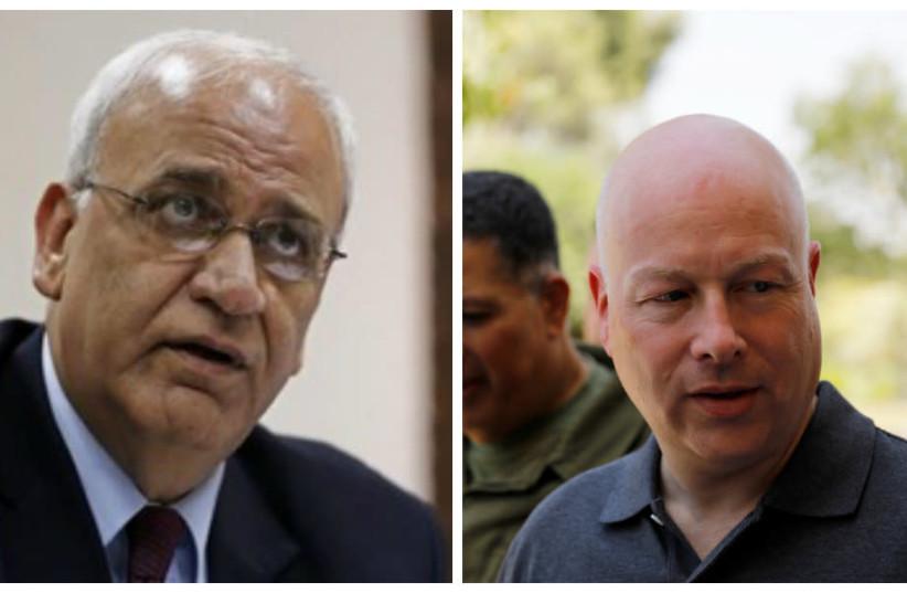 Saeb Erekat and Jason Greenblatt  (photo credit: REUTERS)