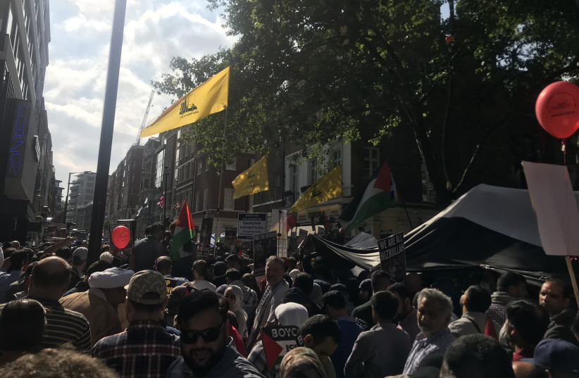 Hezbollah flags at Al-Quds Day March (photo credit: JOSH DELL)