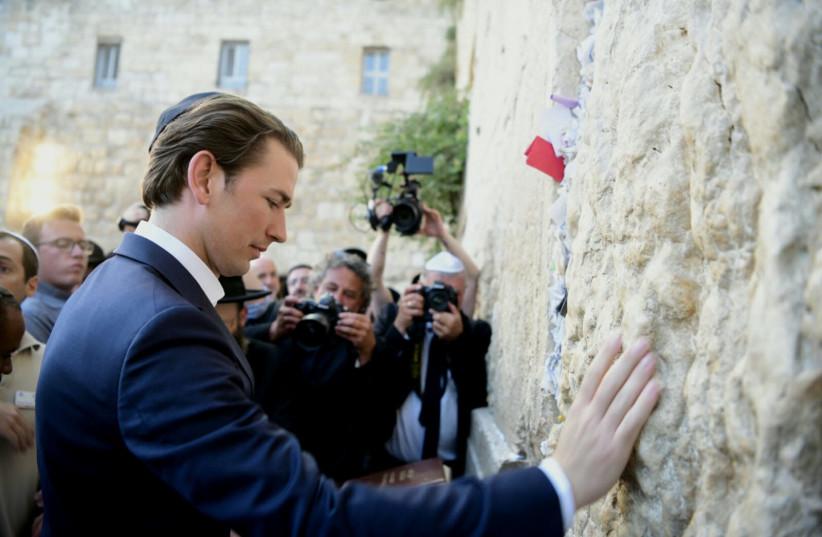 Sebastian Kurz visits the Western Wall, June 10, 2018 (photo credit: AVI HAYUN)