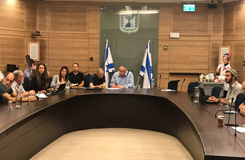 The empty chairs in Sunday's meeting of the Knesset Foreign Affairs and Defense sub-committee on Judea and Samaria (photo credit: Courtesy)