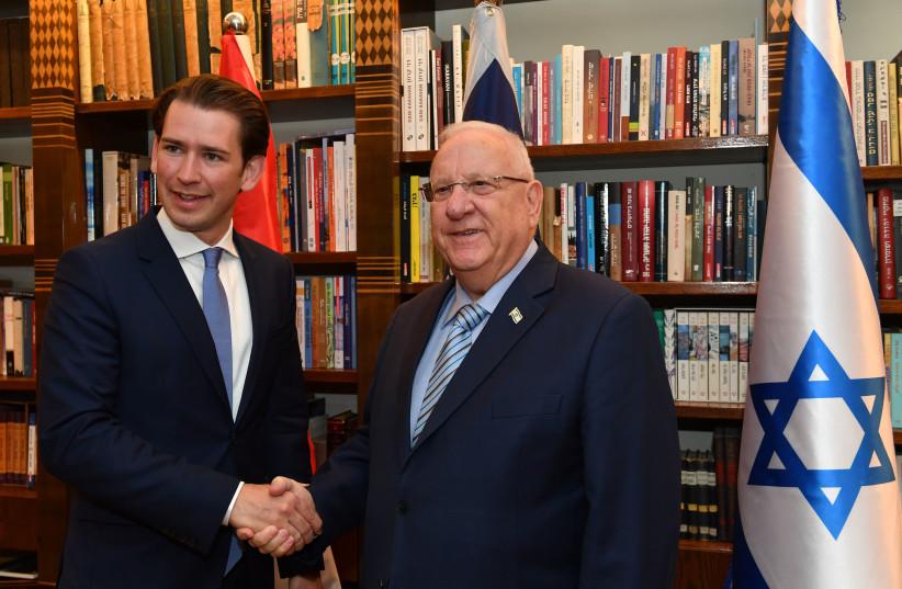 President Reuven Rivlin met with the Austrian Chancellor Sebastian Kurz on June 12, 2018 (photo credit: KOBI GIDEON/GPO)