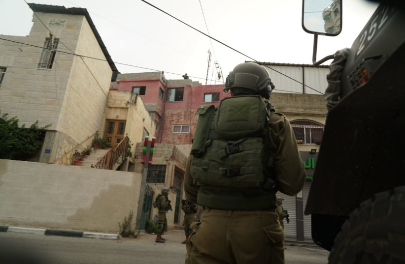 IDF soldiers during activities in the West Bank (photo credit: IDF SPOKESPERSON'S OFFICE)