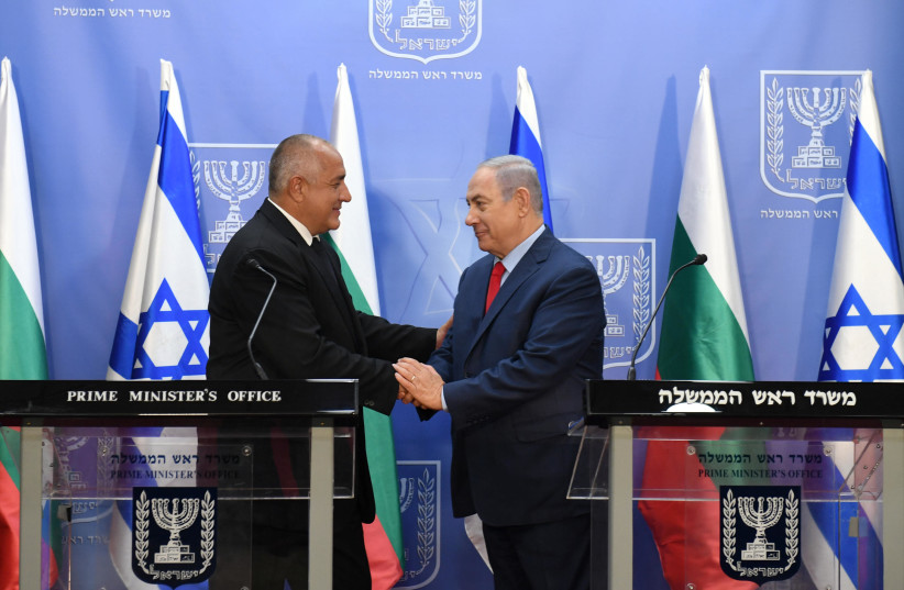 Prime Minister Benjamin Netanyahu meets with Bulgarian prime minister Boyko Borisov in Jerusalem on Wednesday, June 13, 2018 (photo credit: HAIM ZACH/GPO)