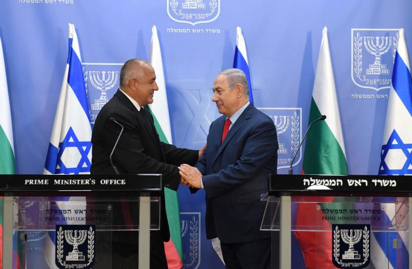 Prime Minister Benjamin Netanyahu meets with Bulgarian prime minister Boyko Borisov in Jerusalem on Wednesday, June 13, 2018 (photo credit: HAIM ZACH/GPO)