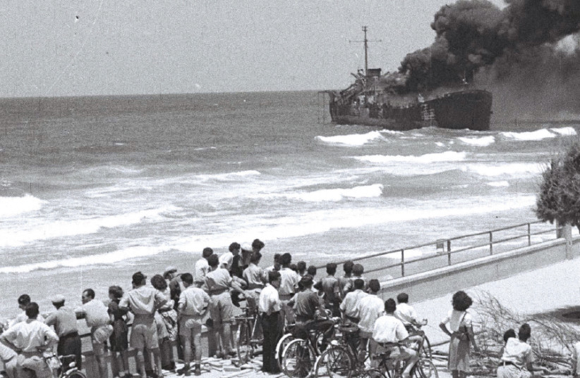 BYSTANDERS WATCH as the 'Altalena' burns after being shelled near Tel Aviv on June 22, 1948 (photo credit: Wikimedia Commons)