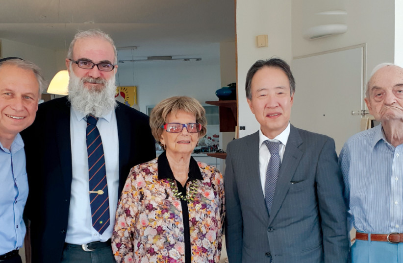 (From right) Solly Ganor, Japanese Ambassador Koji Tomita, wife Pola Ganor, Japan intercultural exchange adviser Yosef Krichely and Dr. Les Glassman (photo credit: LES GLASSMAN)