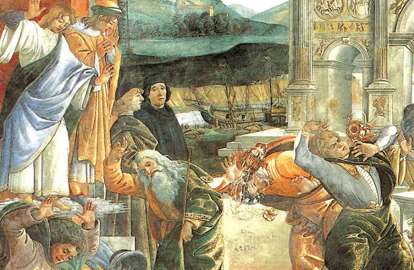 THE PUNISHMENT of Korah, a detail from the fresco 'Punishment of the Rebels' by Sandro Botticelli in the Sistine Chapel (photo credit: Wikimedia Commons)