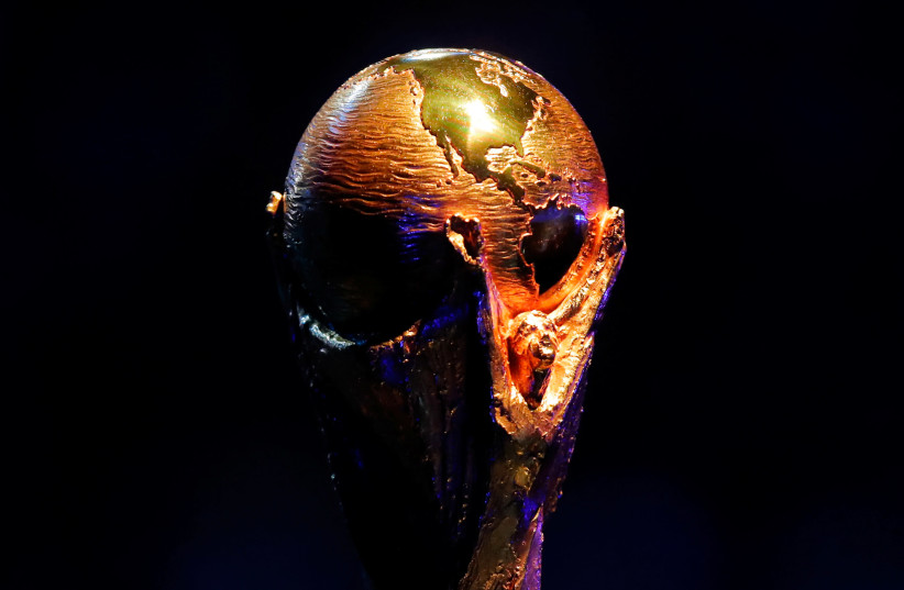 General view of the FIFA World Cup trophy during the World Cup 2018 draw (photo credit: REUTERS/MAXIM SHEMETOV)