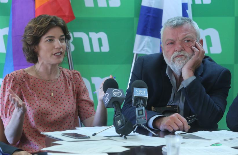 Meretz Chairwoman Tamar Zandberg (L) and MK Ilan Gilon (R) during a faction meeting on June 18th, 2018 (photo credit: MARC ISRAEL SELLEM/THE JERUSALEM POST)