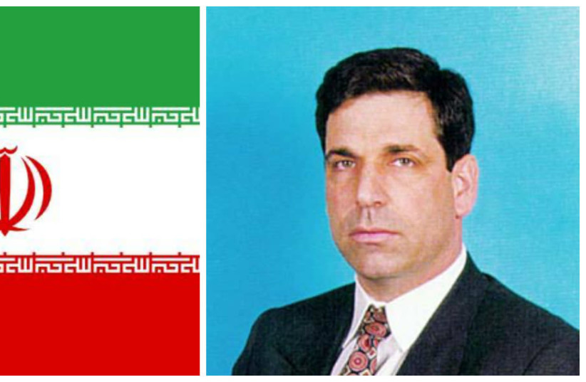 Gonen Segev (R) and the Iranian flag (photo credit: WIKIMEDIA COMMONS AND KNESSET)