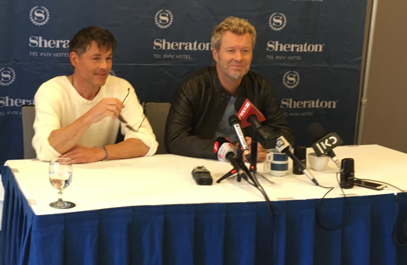A-ha at a press conference in Tel Aviv on Tuesday, June 19, 2018 (photo credit: NAOMI GRANT)
