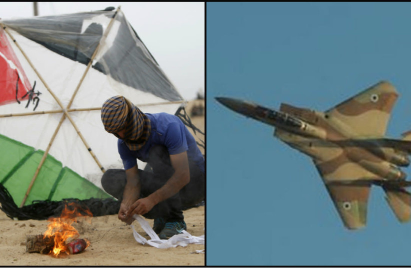 In the Gaza arena a new kite-strike equation is being put into practice  (photo credit: MOHAMMED ABED/AFP + IDF SPOKESPERSON'S OFFICE)