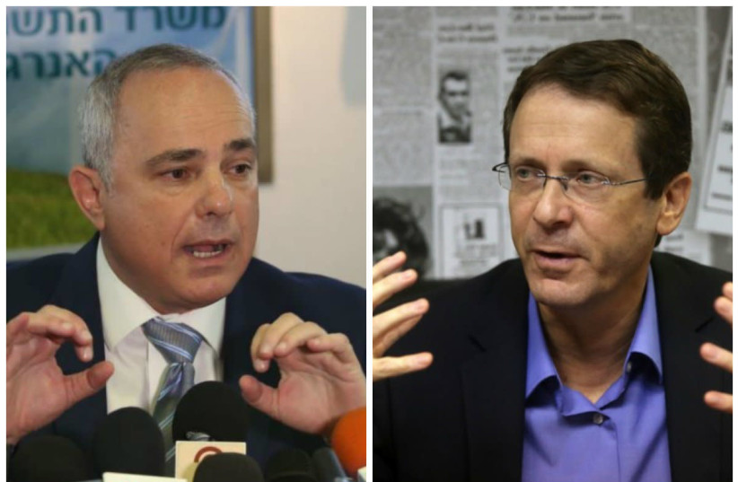 Leading candidates for Jewish Agency chairmanship Yuval Steinitz (L) and Isaac Herzog (photo credit: MARC ISRAEL SELLEM)