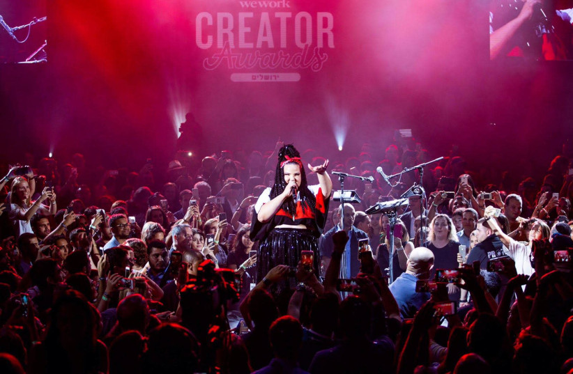 2018 Eurovision winner, Israeli Neta Barzilai, performed for the WeWork Creator Awards ceremony in Jerusalem on Wednesday.  (photo credit: Courtesy)
