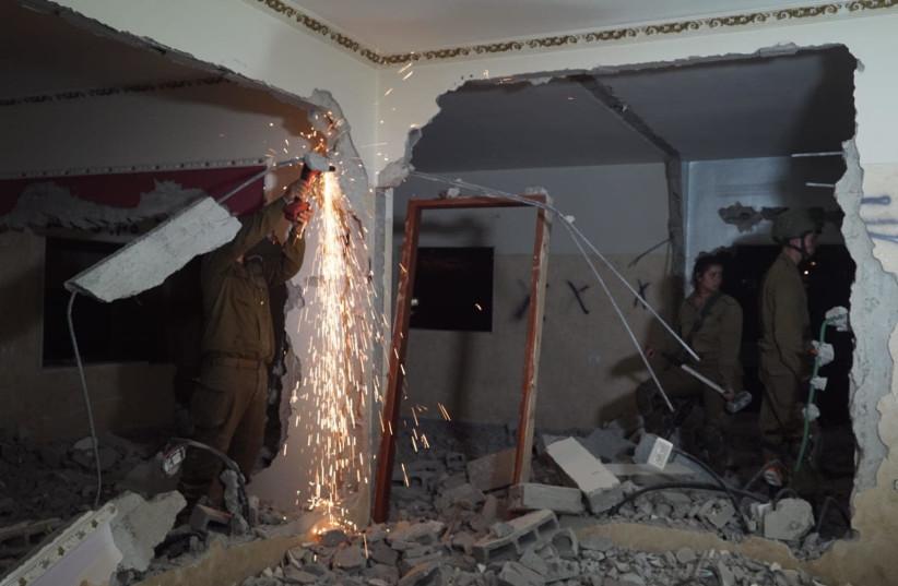IDF forces demolish the home of a terrorist Alaa Kabha, June 21st, 2018 (photo credit: IDF SPOKESPERSON'S UNIT)