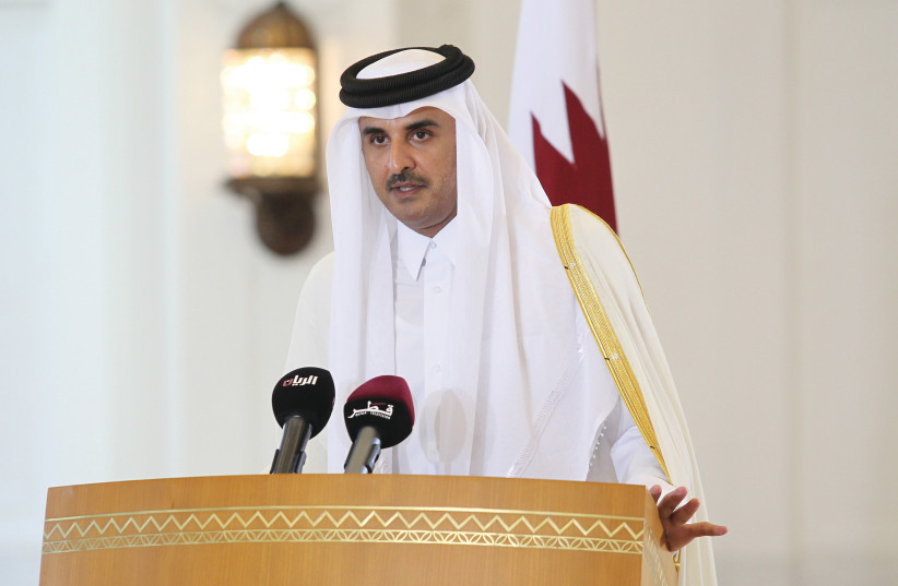 EMIR OF QATAR Sheikh Tamim bin Hamad al-Thani in Doha (photo credit: NASEEM ZEITOON/REUTERS)