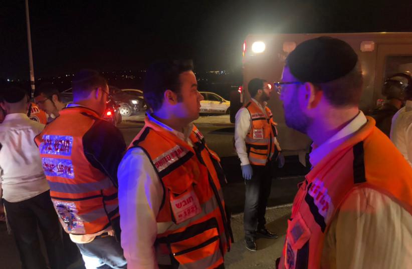 United Hatzalah first response EMS volunteers in Husan  (photo credit: UNITE HATZALAH WEST BANK)
