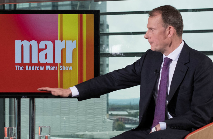 BBC's Andrew Marr Show, during the Conservative Party Conference, in Manchester, Britain, October 1, 2017. (photo credit: STEFAN ROUSSEAU/REUTERS)