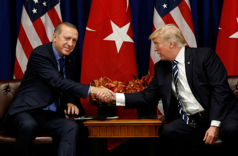 U.S. President Donald Trump meets with President Recep Tayyip Erdogan of Turkey during the U.N. General Assembly in New York, U.S. (photo credit: KEVIN LAMARQUE)