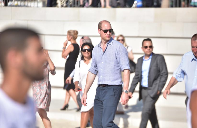 Britian's Prince William at the beach of Tel Aviv (photo credit: NIV AHRONSON/POOL)