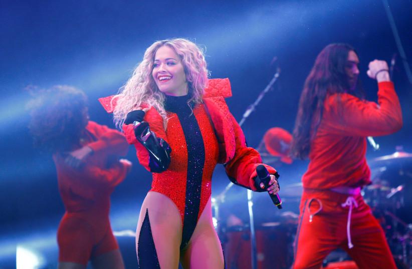 Rita Ora performs in Kosovo, February 2018 (photo credit: REUTERS)
