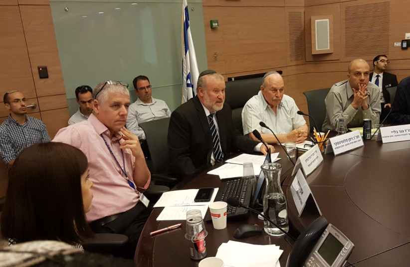 Attorney General Avichai Mandelblit (C) speaks in Knesset, June 27, 2018 (photo credit: Courtesy)