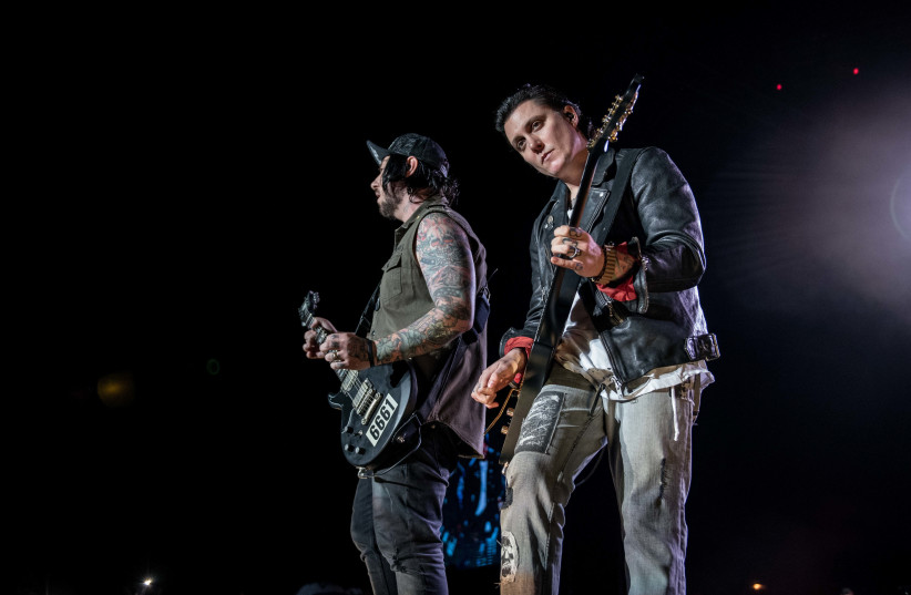 Avenged Sevenfold onstage in Rishon Lezion Tuesday night (photo credit: LIOR KETER)