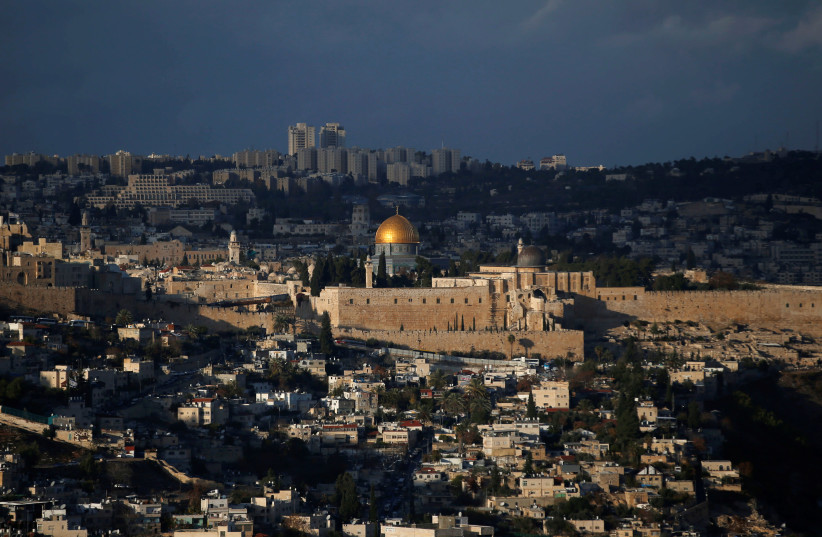 A general view of Jerusalem shows the Dome of the Rock (photo credit: RONEN ZVULUN/ REURERS)