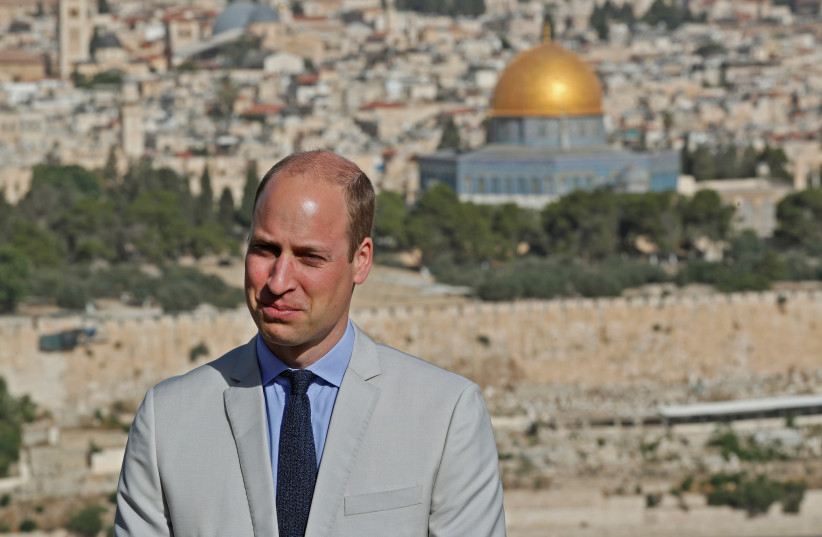 Britain's Prince William visits an observation point on Mount of Olives, overlooking Jerusalem's Old City, June 28, 2018 (photo credit: THOMAS COEX/POOL VIA REUTERS)