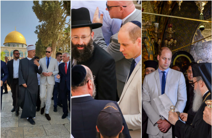 Prince William tours religious sites in Jerusalem's old City (photo credit: TALI GILBERG/MARC ISRAEL SELLEM/KENSINGTON PALACE)