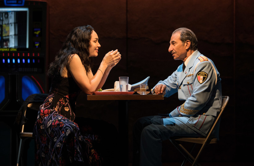 Sasson Gabay and Katrina Lenk in THE BAND'S VISIT, photo by Evan Zimmerman for MurphyMade 2018. (photo credit: EVAN ZIMMERMAN)