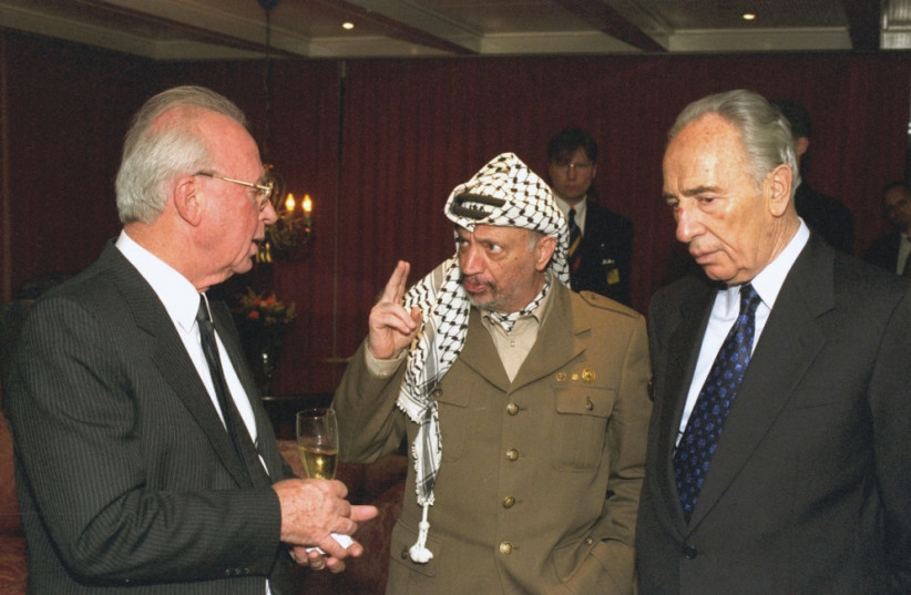 YITZHAK RABIN, Yasser Arafat and Shimon Peres in the movie 'The Oslo Diaries,' about the attempt to bring peace to the Middle East through the Oslo Accords during the 1990s. (photo credit: SAAR YAACOV)