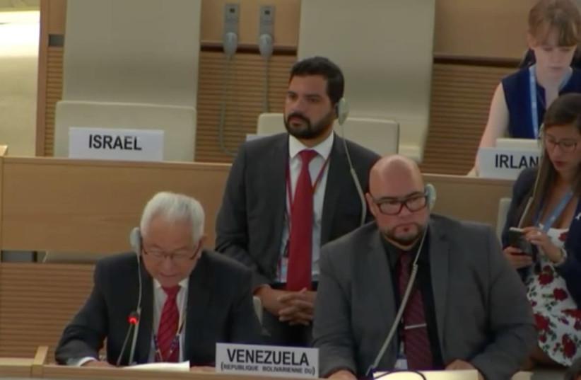 The empty seats during the UNHRC Agenda Item 7 debate.  (photo credit: screenshot)