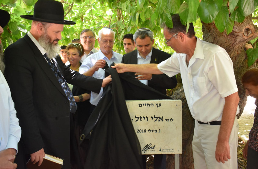 A memorial plaque to Elie Wiesel is unveiled at the Jerusalem Chamber of Holocaust, July 2, 2018 (photo credit: LIMMUD FSU)