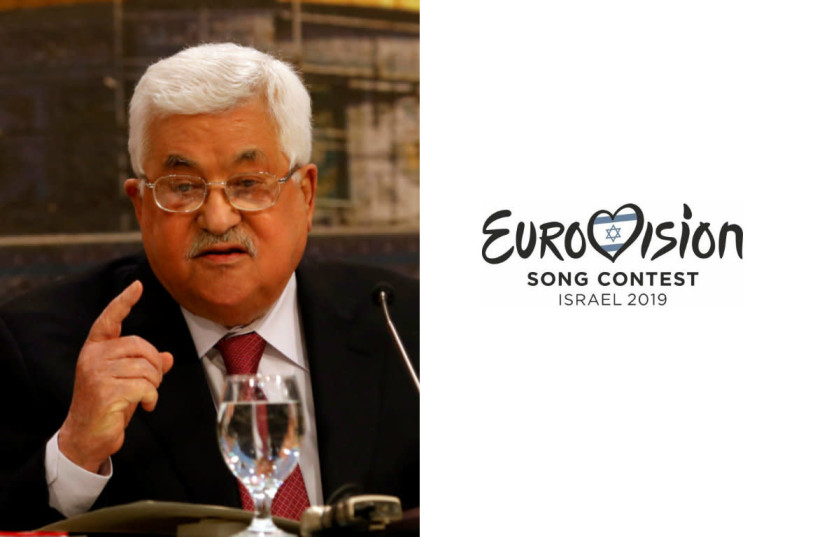 Mahmoud Abbas and the Eurovision Logo (photo credit: MOHAMAD TOROKMAN/REUTERS + COURTESY KAN)