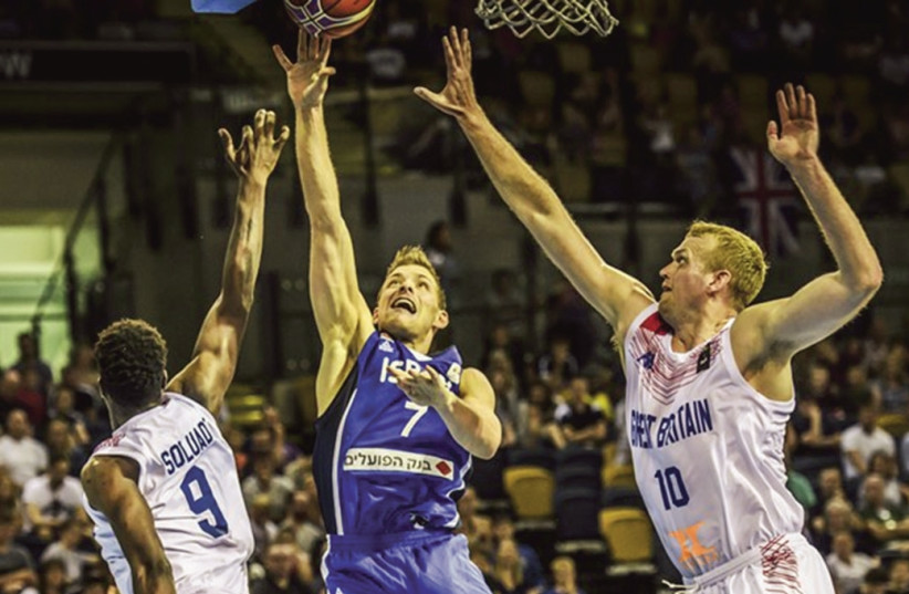 GAL MEKEL (7) helped propel Israel to a 67-59 victory over Great Britain on Monday night to earn a spot in the second round of World Cup qualifying (photo credit: FIBA EUROPE/ COURTESY)