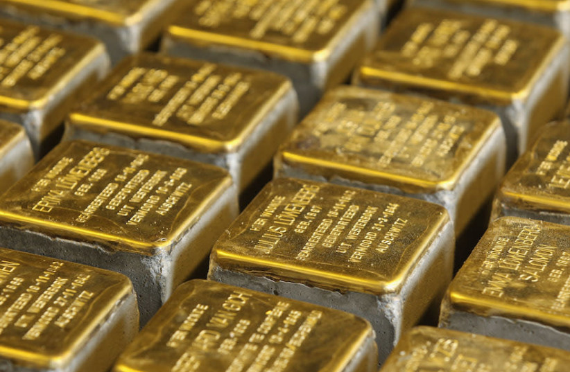 """A view of some """"stolpersteine"""" in Berlin, Aug. 2012 (photo credit: SEAN GALLUP/GETTY IMAGES)"""