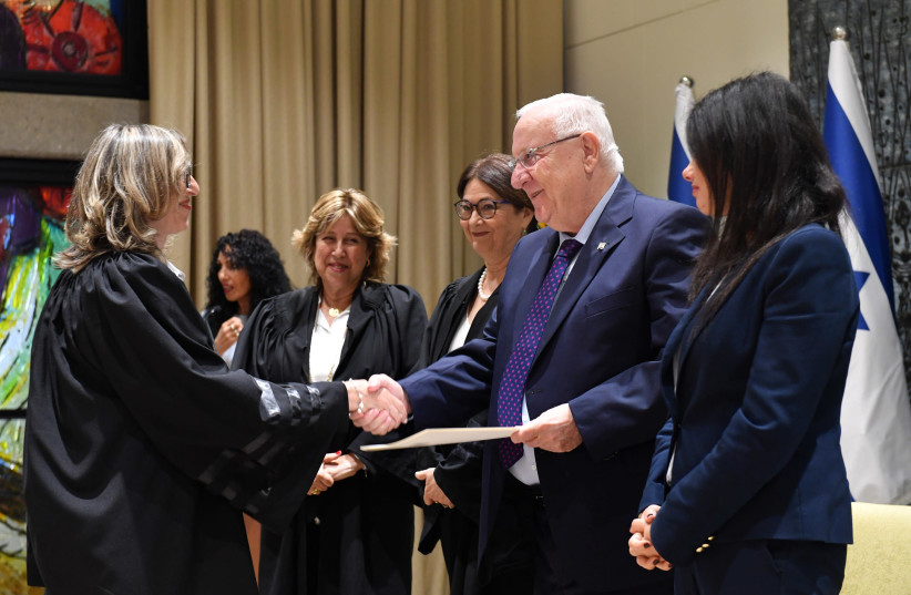 Justice Minister Ayelet Shaked, President Reuven Rivlin, Chief Justice Esther Hayut, and Judge Varda Wirth Livne, and new judge Sawsan al-Qasem, July 4, 2018. (photo credit: GPO)