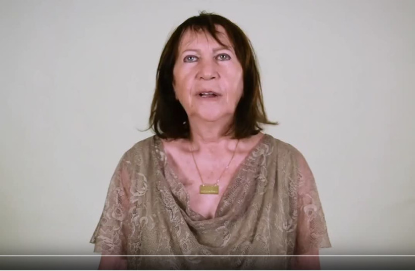 Zehava Shaul, mother of the late IDF soldier Oron Shaul in a video in which she appeals to Hamas leader Yahya Sinwar (photo credit: YOUTUBE SCREENSHOT)