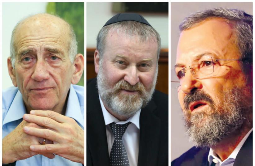 From Left to Right: Ehud Olmert, Avichai Mandelblit, Ehud Barak (photo credit: MARC ISRAEL SELLEM/WIKIMEDIA COMMONS)