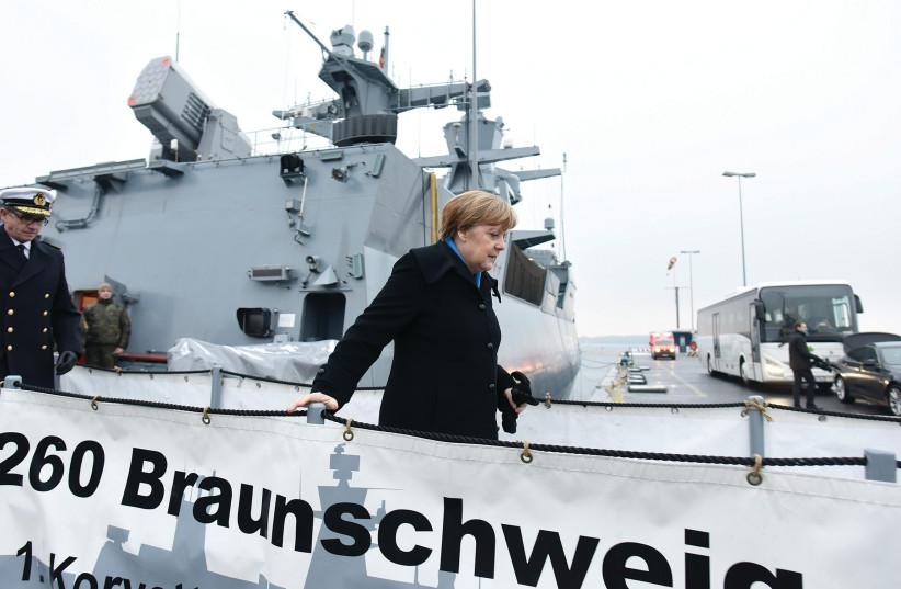 GERMAN Chancellor Angela Merkel on a sinking ship? (photo credit: REUTERS)