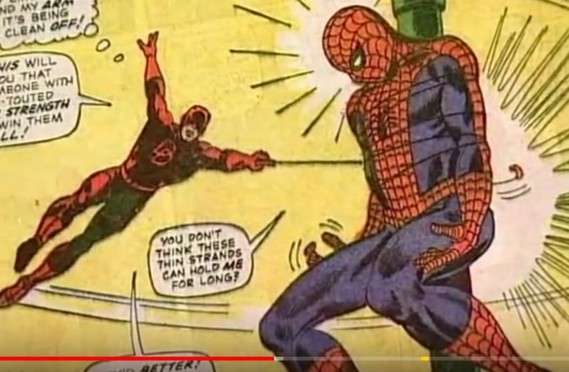 Comic book art by Steve Ditko. Spiderman and Daredevil.  (photo credit: YOUTUBE SCREENSHOT)