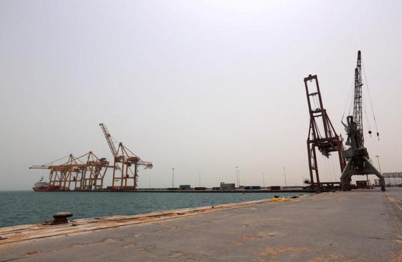 View of the Red Sea port of Hodeidah, Yemen June 24, 2018 (photo credit: REUTERS/ABDULJABBAR ZEYAD)