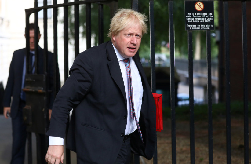 Britain's Secretary of State for Foreign and Commonwealth Affairs Boris Johnson arrives at 10 Downing Street in London, Britain, July 3, 2018. (photo credit: SIMON DAWSON/ REUTERS)